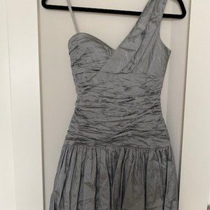 NWT BCBG Silver One Shoulder Party Dress 0